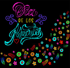 Hand sketched colorful Dia de los Muertos typography lettering with skull and flowers isolated on dark violet background. Vector illustration.