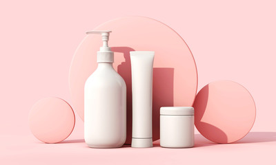 Blank white cosmetic skincare makeup containers. 3D Render