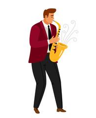 Jazz music saxophonist player icon on white background, vector illustration