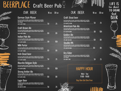 Beer menu template for pub or brewery with hand drawn elements