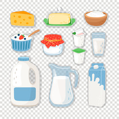 Fototapeta Cartoon dairy products. Milk product set isolated on transparent background, healthy milk and cheese eating snacks, dairy food ingredients for cooking, vector illustration obraz