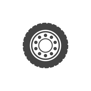 Truck wheel flat vector icon