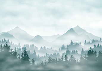 Realistic illustration of mountain landscape silhouettes with forest and coniferous trees. Fog haze or clouds under green-blue sky, vector