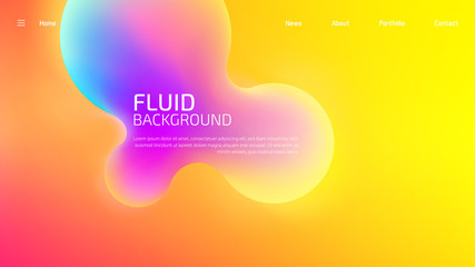Trendy summer fluid gradient background for landing page background, colorful abstract liquid 3d shaped. Futuristic design backdrop for banner, poster, cover, flyer, presentation, advertising