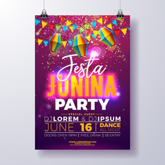 Festa Junina Party Flyer Design with Flags, Paper Lantern and Typography Design on Shiny Purple Background. Vector Traditional Brazil June Festival Illustration for Invitation or Holiday Celebration