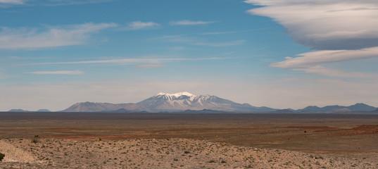 Humphreys Peak Mountain range flagstaff shot from the winslow arizona meteor crater