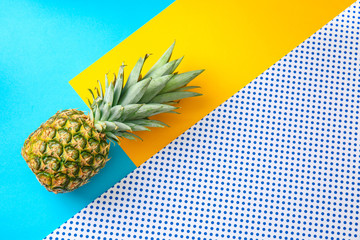 Ripe pineapple on color background Wall mural