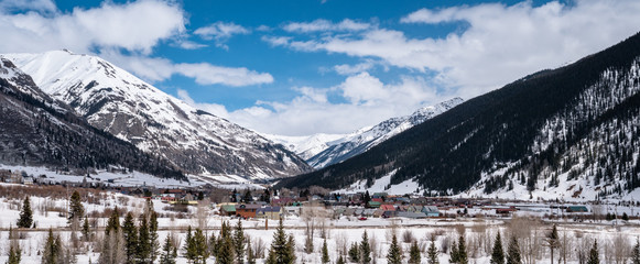 the town of Silverton Colorado in a blanket of snow at the end of winter