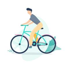 Happy girl riding a bike. Female character