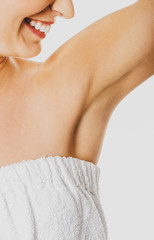 Female armpit with smooth skin after depilation. Body care concept.