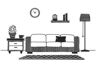 Interior in Scandinavian style. Part of the room. Hand drawn vector illustration