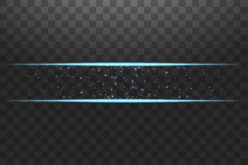 Blue frame with lights effects. Shining luxury banner vector illustration. Glow line blue frame with sparks and spotlight light effects. Shining rectangle banner isolated on black transparent