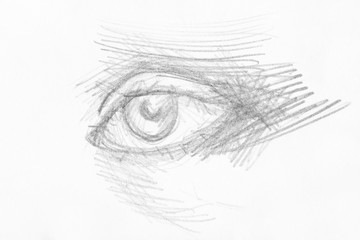 hatched sketch of eye hand drawn by black pencil