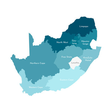 Vector isolated illustration of simplified administrative map of South Africa. Borders and names of the regions. Colorful blue khaki silhouettes