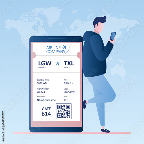 Male traveller with smartphone,online check-in,Airline boarding pass