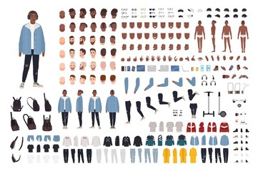 Wall Mural - African American guy in street style outfit constructor set or DIY kit. Bundle of body parts, trendy clothes and accessories. Male cartoon character. Front, side, back views. Vector illustration.