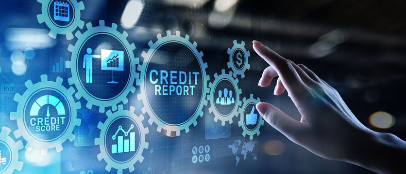 Credit report score button on virtual screen. Business Finance concept.