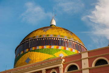 Stunning Colorful Manaus Opera House, Famous One Day Excursions. One Most Beautiful Building With a Minted Brazilian Flag in Exterior Rotunda. Manaus, Amazonas, Brazil