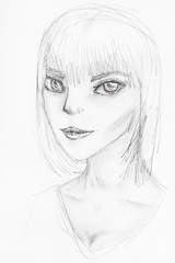 sketch of anthropomorphic girl with large eyes