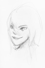 sketch of girl's head with smiling face in anime