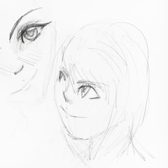 sketches of girl's faces in anime style