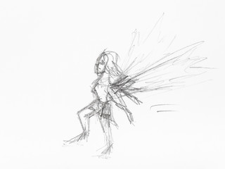 sketch of little fairy hand drawn by black pencil