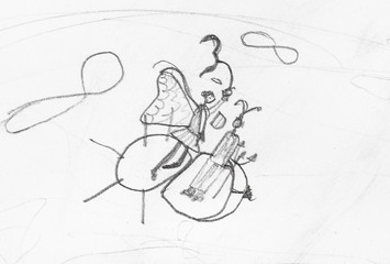 sketch of fairy and devil flying on bee in sky