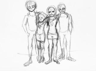 street teenagers hand drawn by black pencil