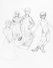 sketch of group of teenagers hand drawn by pencil