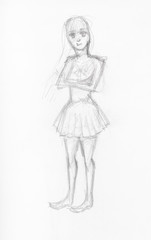 girl in short dress hand drawn by black pencil