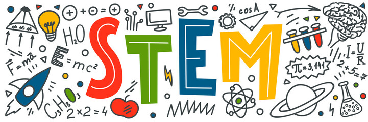 STEM. Science, technology, engineering, mathematics doodles.