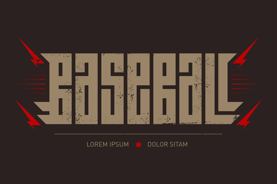 Baseball - brutal font for labels, headlines, posters or t-shirt print. Horizontal label.