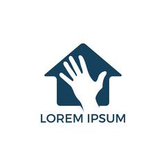 House and hand logo design. Insurance logo template. House care vector logo design template.