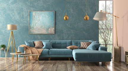 Interior of living room with blue sofa 3d rendering Wall mural