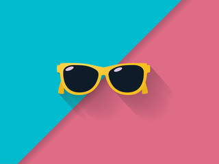 Sunglasses on colorful background as summer vector concept. Symbol of summer holiday, vacation, relax. Wall mural
