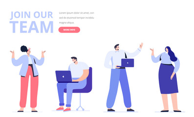Wall Mural - Creative team characters.  Join our team concept. Discussion people. Team thinking and talking. Flat vector illustration.