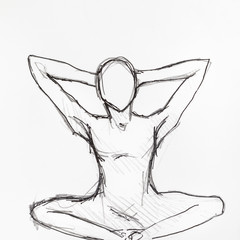 sketch of human figure in the lotus position