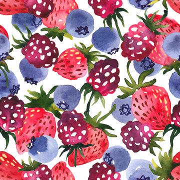 Watercolor mix of berries seamless pattern. Blueberries, strawberries and raspberries