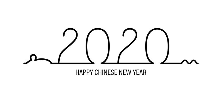 Vector New Year 2020 illustration with rat in one line.