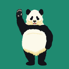 Giant panda standing on hind legs, smiling and waving. Black and white bear. Endangered species. Vector illustration.