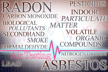 The most dangerous indoor pollutants with graph about Air Testing - concept image