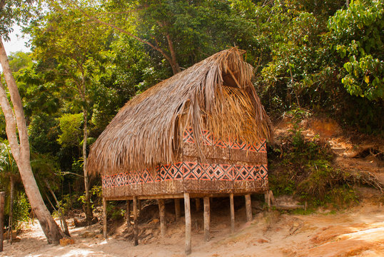Large house covered with sape grass, Indigenous tribe village near Manaus, Amazonas State, Brazil