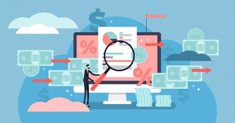 Cash flow vector illustration. Flat tiny money management persons concept.