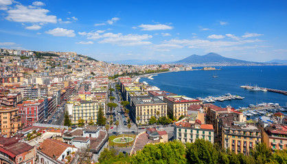Panoramic view of Naples city and Mount Vesuvius, Italy