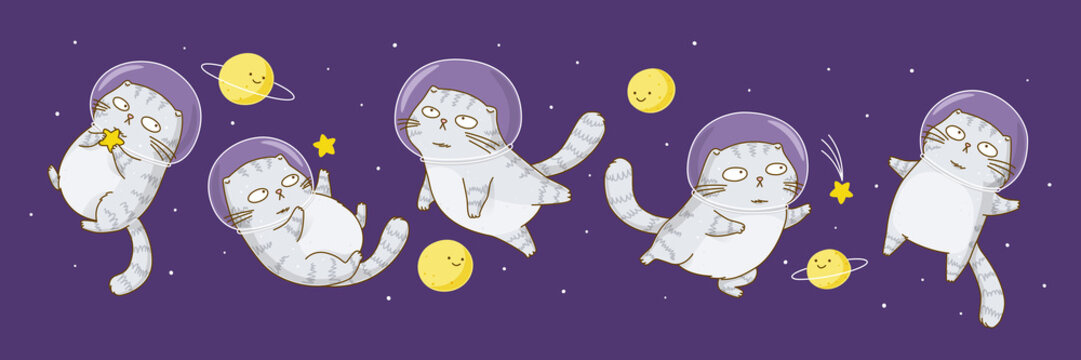 Set of cute scottish fold cats astronauts on starry sky background