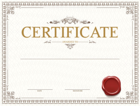 Certificate or diploma template design with seal and watermark