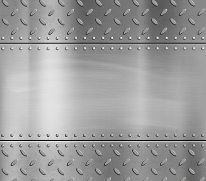 Metal blank polished plate with rivets and pattern
