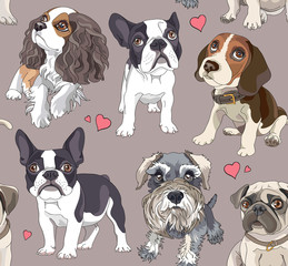 Seamless pattern with a different Cartoon puppies. Vector illustration.