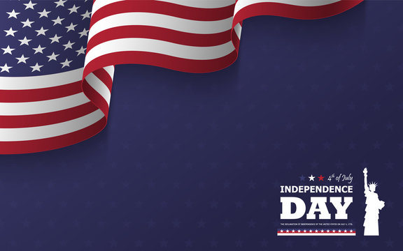 4th of July happy independence day of america background . Statue of liberty flat silhouette design with text and waving american flag at corner on blue star texture . Vector .
