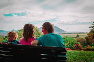 happy family-mom dad and little son-travel in Mauritius
